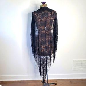 Vintage black crochet shawl with fringe